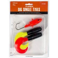 Fladen Big Single Tails 120mm Dorschköder schwarzgelb-schwarzrot | Gummifisch-Set