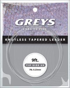 Greys Knotenlos verjüngtes Vorfach 0X 9' 10lb