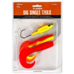 Fladen Big Single Tails 120mm Dorschköder gelb-rot | Gummifisch-Set